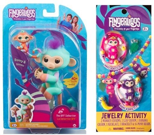 Fingerlings 2 Pack - BFF Collection 'Billie & Aiden' & 2 Monkey Jewelry Set