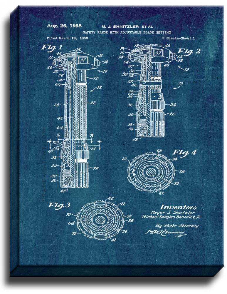 Primary image for Safety Razor With Adjustable Blade Setting Patent Print Midnight Blue on Canvas