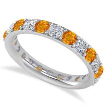2.00 Ct Round Real Diamond & Citrine 14K Gold Full Eternity Wedding Band... - €596,18 EUR