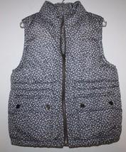 Gap Kids NWT Girl's Gray Ditsy Print Floral Puffer Vest Coat Jacket - $47.79