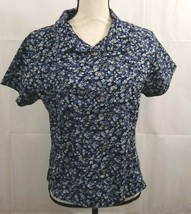 Breastfeeding Nursing Navy Floral Shirt Sz M Button Front Short Sleeves ... - $9.49