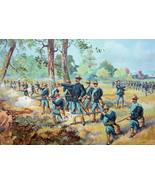 US ARMY in 1892 Infantry Field Battle Rifles Shooting Attack - COLOR Lit... - $13.49