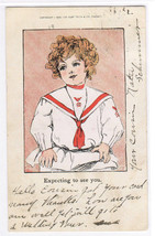 Expecting To See You Child Sailor Uniform 1908 postcard - $4.46