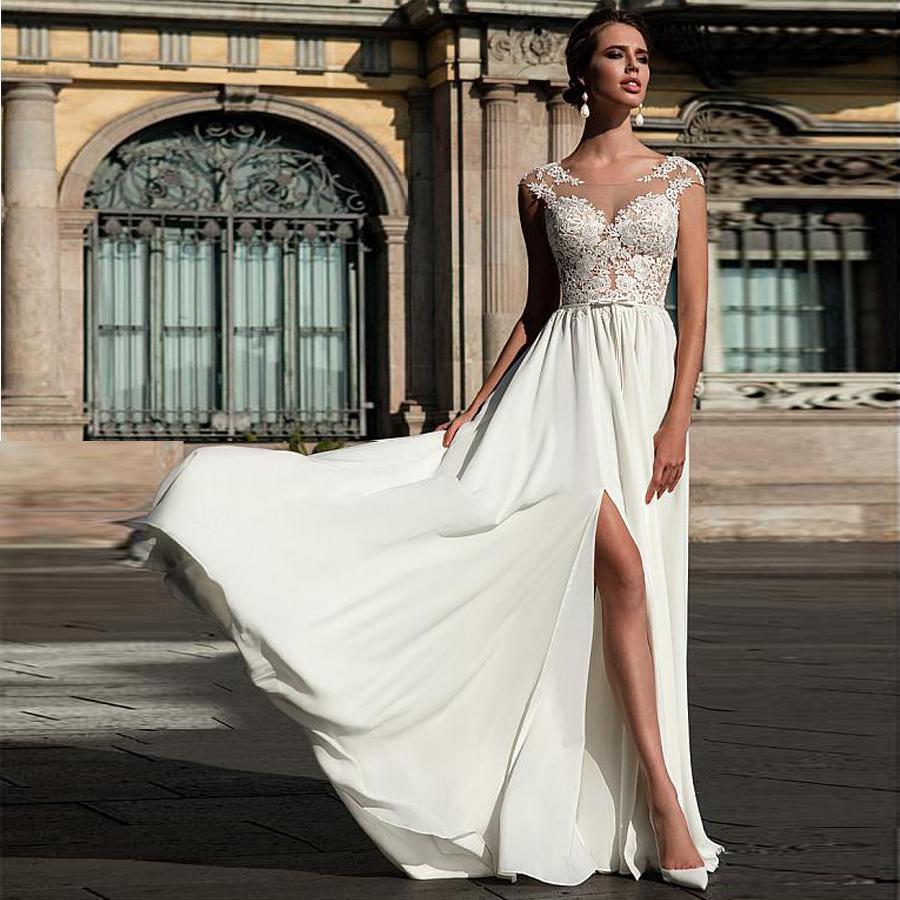 Chiffon scoop neckline a line wedding dress with lace appliques front slit bridal dress vestidos