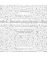 Aztec Panels Paintable Wallpaper White Norwall Wallcovering 48927 - $34.64