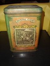 Vintage Crystal Cane Natures Choice Pure Cane Sugar Metal Tin Canister 9... - $36.39