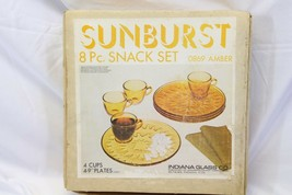 Vintage Indiana Glass Sunburst Snack Set 8 Piece Plates Cups - $37.23