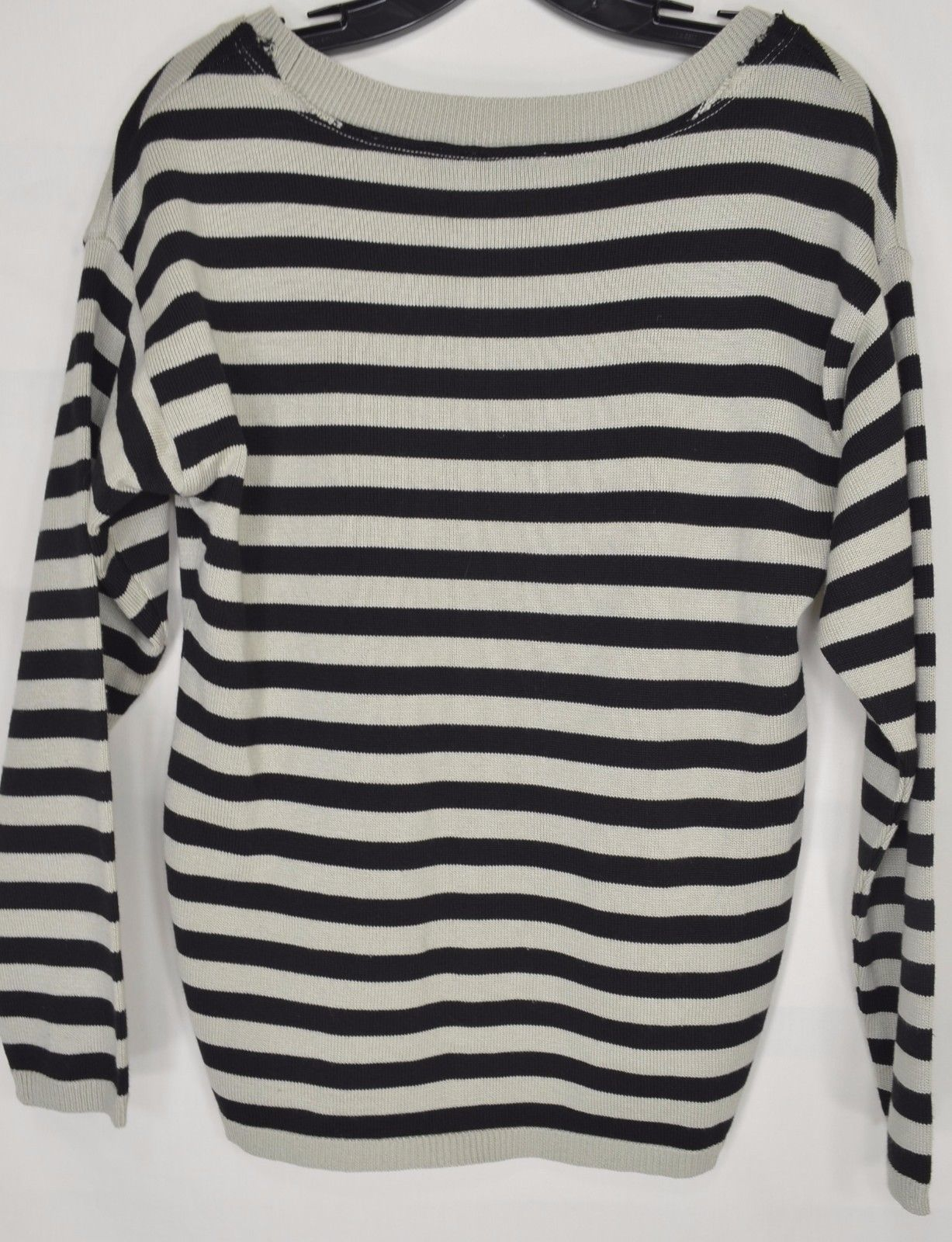 1 Tricotto sweater SZ S black taupe/beige striped scoop neck lace heart bling