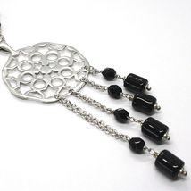 Collier Argent 925, Onyx Noir Tuyau , Médaillon Étoiles et Cercles, Chute image 3