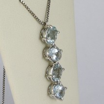 18K WHITE GOLD NECKLACE, OVAL CUT 4 AQUAMARINE PENDANT WITH VENETIAN CHAIN image 2