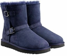 Kirkland Signature Kids Navy Australian Sheepskin Shearling Buckle Winter Boots