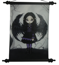 JASMINE GRIFFITH PURPLE PAPER HEARTS FAIRY POLYURETHANE WOODEN WALL SCROLL - €17,61 EUR