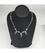 "12.7g,2mm-27mm, Small Green Nephrite Jade Arrowhead Beaded Necklace,19"",... - $4.75"
