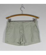 J. CREW white & green striped seersucker cotton blend low fit mini shorts 0 - $10.00
