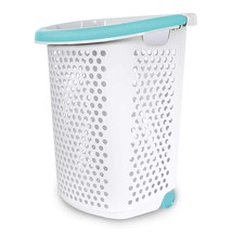 Home Logic 2.0-Bu. Rolling Laundry Hamper Container Bin Storage in White... - $31.86