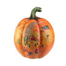 "CC Home Furnishings 9.5"" Harvest Orange Crackled Table Pumpkin Cornucopia - £21.17 GBP"