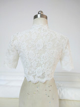 Empire Style Long Sleeve Lace Crop Top Button Down Wedding Lace Crop Top Shirts image 8