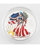 1999 1oz AMERICAN SILVER EAGLE PAINTED WITH CASE AND CERTIFICATE - $83.14