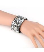 UNITED ELEGANCE Bold Cuff Wristband With Stones & Swarovski Style Crystals - $11.99