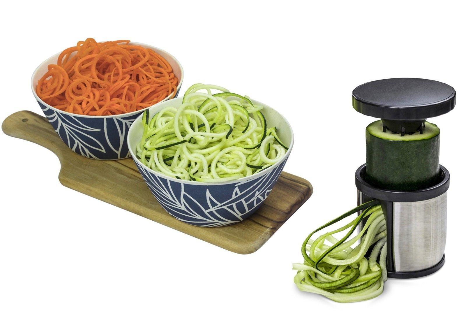 Hand Held Spiralizer Vegetable Slicer Veggie Spiral Cutter Free Recipes PDF NEW