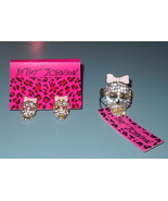 Betsey Johnson Designer Jewelry Set Ring Earrings Pink Rhinestone Skull New - $14.00