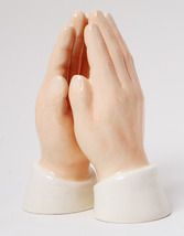 MAGNETIC SALT PEPPER SHAKER CERAMIC PRAYING HANDS - $11.87