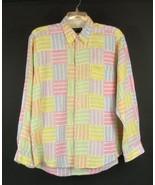 MINE Size L Men's Linen Patchwork Shirt Country... - $49.99