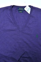 Polo Ralph Lauren Men's V-Neck Custom Fit Merino Wool Purple Sweater New M - $44.54