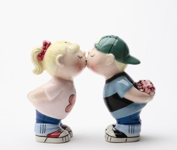 Ceramic Magnetic Salt and Pepper Shakers First Kiss Lover Cute Kitchen D... - $11.99