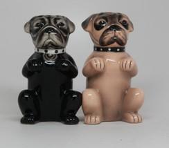 Cute Pugs Puppies Magnetic Ceramic Salt and Pepper Shaker Set Kitchen Decor - $12.70