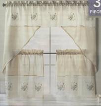 Better Homes & Gardens Embroidered Butterfly 3 Piece Window Set Linen - $14.85