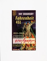 Ray Bradbury signed special Fahrenheit 451 book plate for 50th anniversary - $122.50