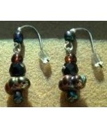 Iridescent Multi-Color Glass and Metal Earrings Hand Made In USA - $14.99
