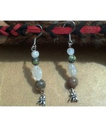 Jasper and Rainbow Moonstone Earrings with Dragon Fly Hand Made In USA - $20.00