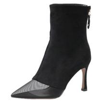 Mesh head sharpy booties, 8.3 cm heels, nubuck leather, US size 4-8.5, black - $68.80
