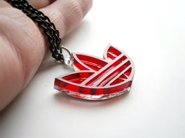 Adidas Necklace - Lasercut Mirror and Red Acrylic - Adidas Unique - $15.95