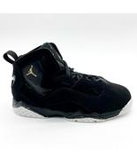 Jordan True Flight BP Black Metallic Gold Kids Size 1.5 Sneakers 343796 026 - $59.95