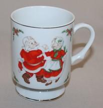 Lefton Santa and Mrs Claus Dancing Footed Mug Christmas Pedestal Coffee Cup 1314 - $9.11