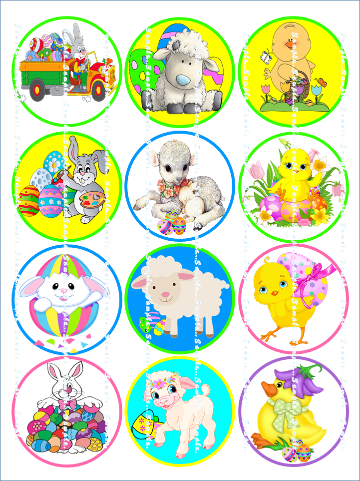 EASTER BUNNY CHICK : 12 Edible Image Cupcake Toppers 2.25 inch in diameter
