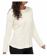 Palette Sweater Off white chenille Cable Knit Size Pullover L NWT - $28.22