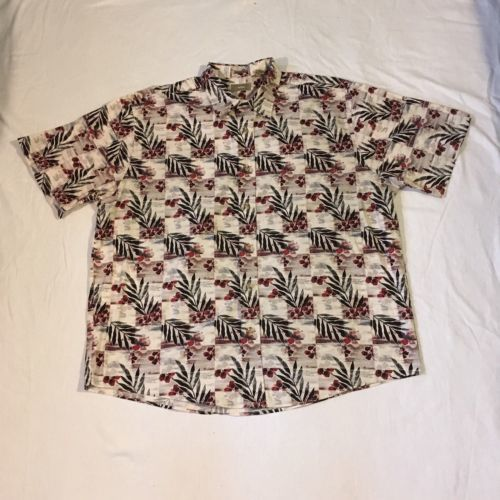 0773f8ab 12. 12. Previous. Natural Issue Mens Size XL Hawaiian Shirt Leaves Short  Sleeve Button Down Casual