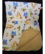 Carters Child of Mine Baby Blanket White Tan Sherpa Zoo Animal Monkey El... - $34.53