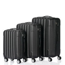"3 Piece Luggage Sets Durable Trolley Travel Suitcase Bag 20"" 24"" 28"" Black - $97.21"