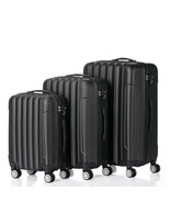 """3 Piece Luggage Sets Durable Trolley Travel Suitcase Bag 20"""" 24"""" 28"""" Black - $97.21"""