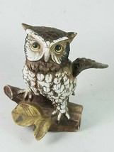 Owl Perching On Branch Home Decor Figure Sculpture Statue - $20.89