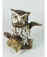Owl Perching On Branch Home Decor Figure Sculpture Statue - $20.89