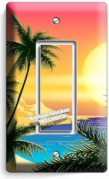 BEAUTIFUL CALIFORNIA BAY SUNRISE PALMS 1 GFCI LIGHT SWITCH WALL PLATE ROOM DECOR