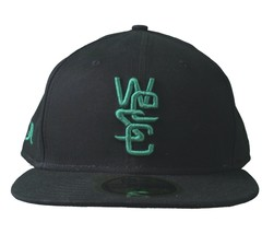 WeSC NEW ERA 59Fifty Nero Verde Cotone Organico Aderente Cappellino Baseball Nwt