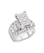 14kt White Gold Princess Diamond Cluster Bridal Wedding Engagement Ring ... - £2,796.72 GBP