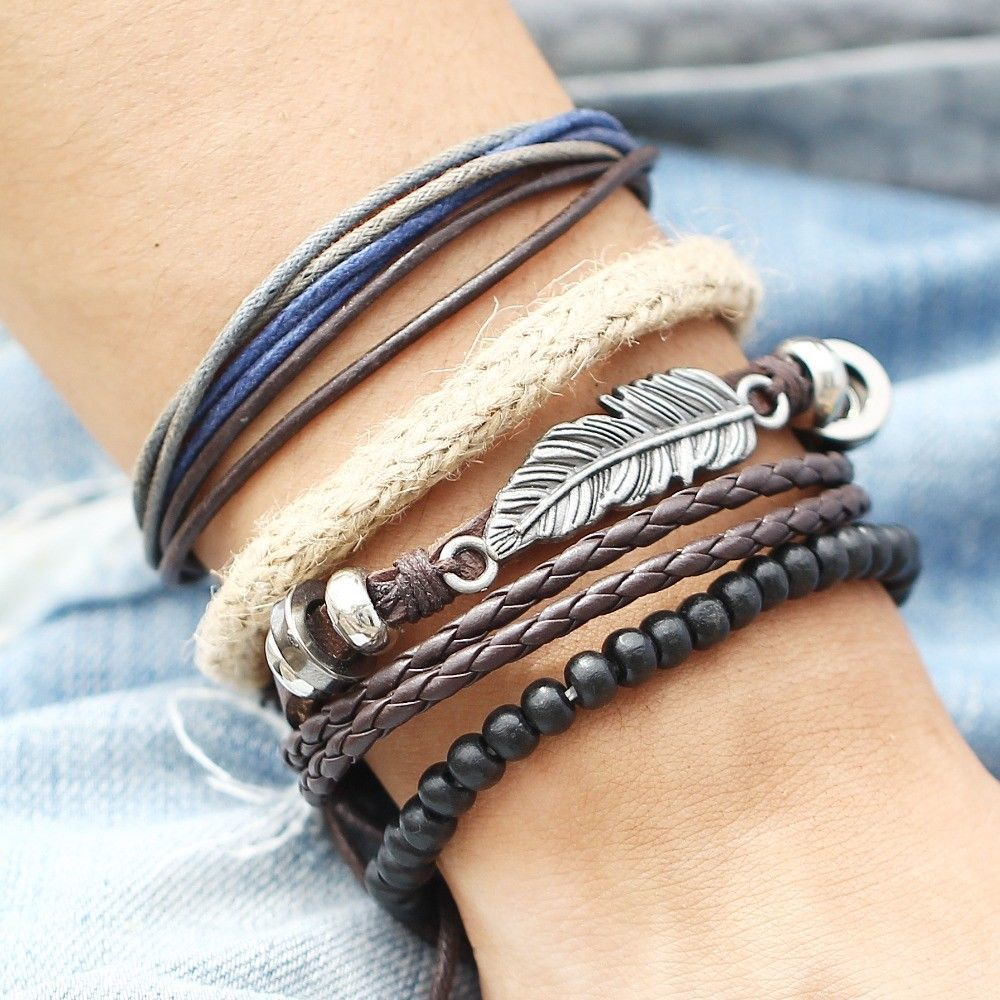 17KM® 4 pcs/set Fashion Eye Leather Bracelet Bangles For Women Wristband Jewelry